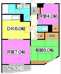 東京都清瀬市竹丘2丁目の賃貸マンションの間取り