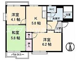 香川県高松市香西東町の賃貸アパートの間取り
