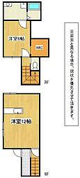 福岡県北九州市小倉北区下富野2丁目の賃貸アパートの間取り