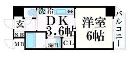 JR東海道・山陽本線 神戸駅 徒歩14分の賃貸マンション 10階1DKの間取り