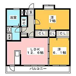 ロマーナ太宰府[4階]の間取り