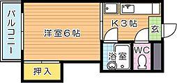 シャトレ永犬丸[3階]の間取り