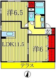 千葉県柏市高柳新田の賃貸アパートの間取り