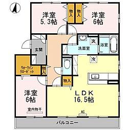 ファミーユ竹の葉[2階]の間取り