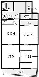 川元ハイツ[2B号室]の間取り