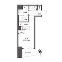 都営大江戸線 牛込柳町駅 徒歩3分の賃貸マンション 10階1Kの間取り