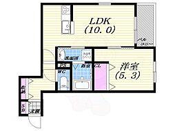 阪急宝塚本線 豊中駅 徒歩10分の賃貸マンション 1階1LDKの間取り