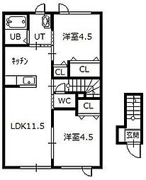 ジェランびえい丸山A 2階2LDKの間取り