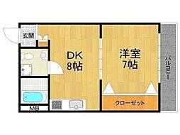 甲子園マンション[7階]の間取り