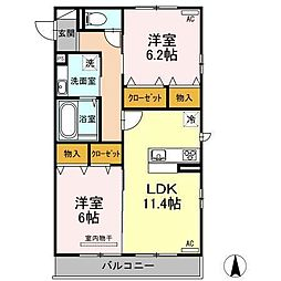 D-room IXI 369[B201 号室号室]の間取り
