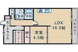 大阪府豊中市待兼山町の賃貸マンションの間取り