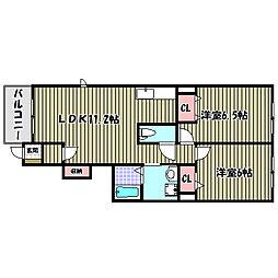 大阪府堺市南区宮山台3丁の賃貸アパートの間取り