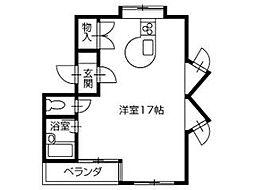 高知市朝倉己 賃貸マンション 1R 3階ワンルームの間取り