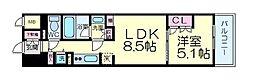 シティカレント新大阪 8階1LDKの間取り