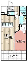 DEUX・RESIA HIRAO(202)[202号室]の間取り