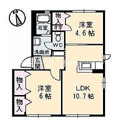 岡山県岡山市北区佐山の賃貸アパートの間取り