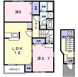 愛知県西尾市上町菖蒲池の賃貸アパートの間取り