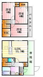 [テラスハウス] 広島県広島市安佐南区川内5丁目 の賃貸【広島県 / 広島市安佐南区】の間取り