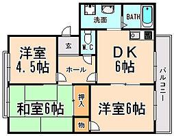 兵庫県宝塚市安倉南2丁目の賃貸アパートの間取り