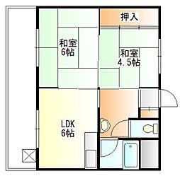 コーポ富田[2階]の間取り