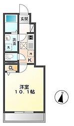 木更津市長須賀593番1新築アパート[102号室]の間取り