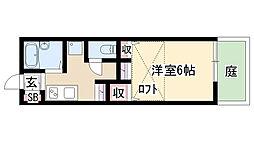 愛知県名古屋市天白区天白町大字野並字相生の賃貸アパートの間取り