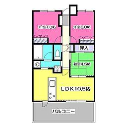 レクセルマンション武蔵野の杜[6階]の間取り