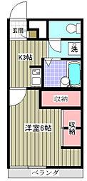 千葉県野田市中里の賃貸アパートの間取り