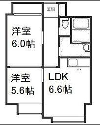 北海道札幌市西区琴似二条3丁目の賃貸マンションの間取り