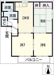 ドミール弐番館[2階]の間取り