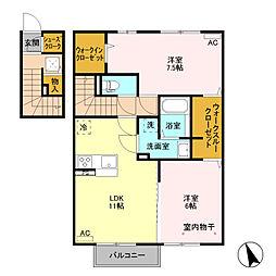 (仮)D−room富士見町 B棟[203号室]の間取り