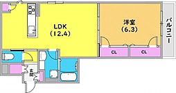 N-CUBE 2階1LDKの間取り