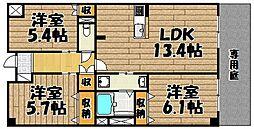 兵庫県川西市東畦野4丁目の賃貸マンションの間取り