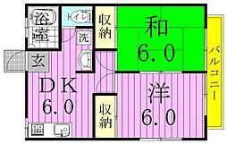 京屋誠コーポB[2階]の間取り