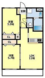 名鉄豊田線 米野木駅 3.8kmの賃貸アパート 1階2LDKの間取り