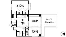 兵庫県宝塚市旭町2丁目の賃貸マンションの間取り