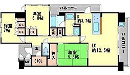 ジオ千里中央フロントコートA[9階]の間取り