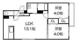 北海道札幌市豊平区美園一条6丁目の賃貸マンションの間取り