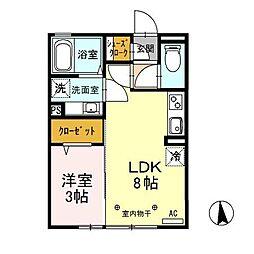 JR上越線 高崎問屋町駅 徒歩22分の賃貸アパート 2階1LDKの間取り