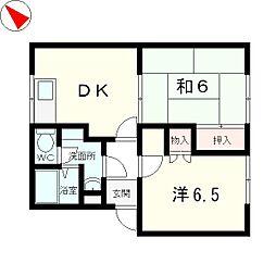 滋賀県守山市勝部2丁目の賃貸アパートの間取り