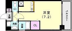 神戸市西神・山手線 新長田駅 徒歩3分の賃貸マンション 9階ワンルームの間取り