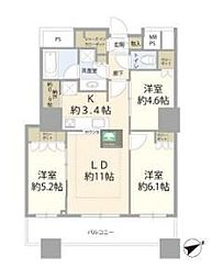 ザ・パークハウス西新宿タワー60 40階3LDKの間取り