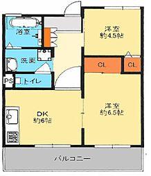 大阪府八尾市陽光園2の賃貸マンションの間取り