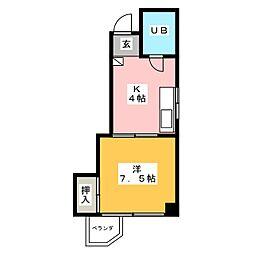 内田橋ロイヤルハイツII[1階]の間取り