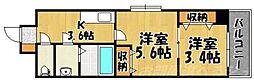 福岡県北九州市小倉北区堺町2の賃貸マンションの間取り
