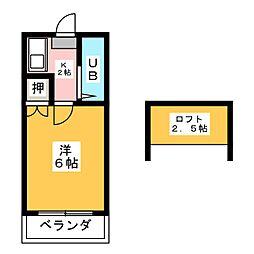 レオパレス21道徳[2階]の間取り