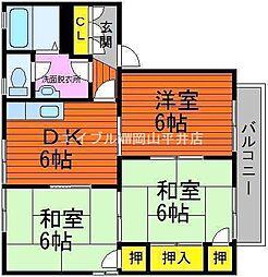 岡山県岡山市中区中井の賃貸アパートの間取り