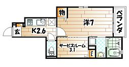 ラインハイム三萩野[1階]の間取り