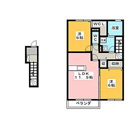 岡山県岡山市南区彦崎の賃貸アパートの間取り