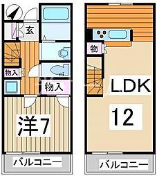 [テラスハウス] 東京都清瀬市中清戸2丁目 の賃貸【/】の間取り